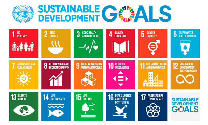 Poster of the UN's 17 Sustainable Development Goals used as a roadmap for impact investing at UBP.